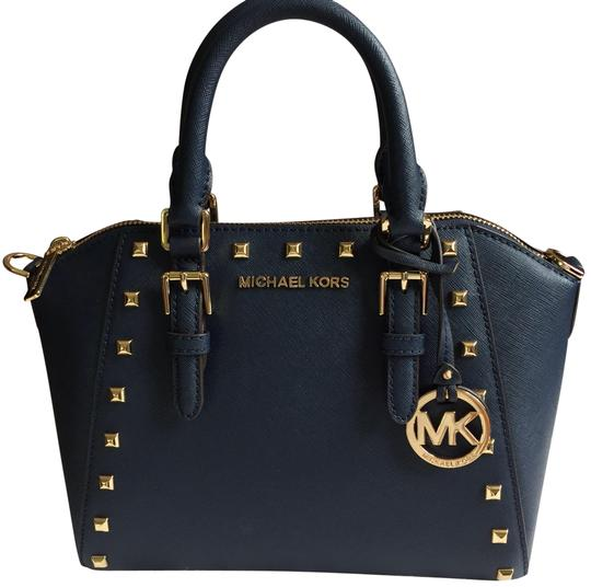 Preload https://img-static.tradesy.com/item/24106631/michael-kors-medium-ciara-studded-satchel-stud-shoulder-navy-cross-body-bag-0-1-540-540.jpg