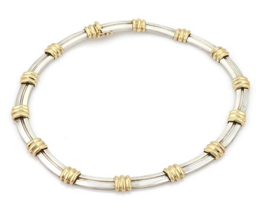 Tiffany & Co. ATLAS 1995 Sterling 18k Yellow Gold Grooved Collar Necklace