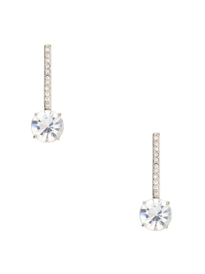 Kate Spade kate spade Clink of Ice Linear Drop Earrings in Clear Rhodium Plated