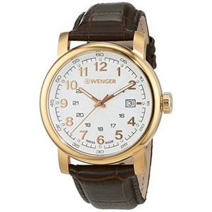 Wenger 01.1041.118 Men's Brown Leather Band With White Analog Dial Watch