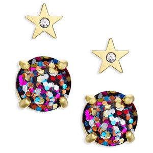 Kate Spade NEW Kate Spade Multi Color Glitter Studs & Gold Star Stud Earrings