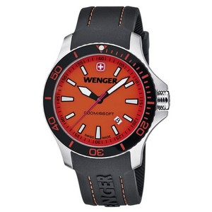Wenger 01.0641.111 Men's Black Silicone Band With Orange Analog Dial Watch