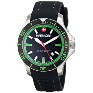 Wenger 01.0641.108 Men's Black Silicone Band With Black Analog Dial Watch