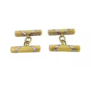 Tiffany & Co. Tiffany & Co. CUFFLINKS 18k Yellow Gold Italian with Pouch