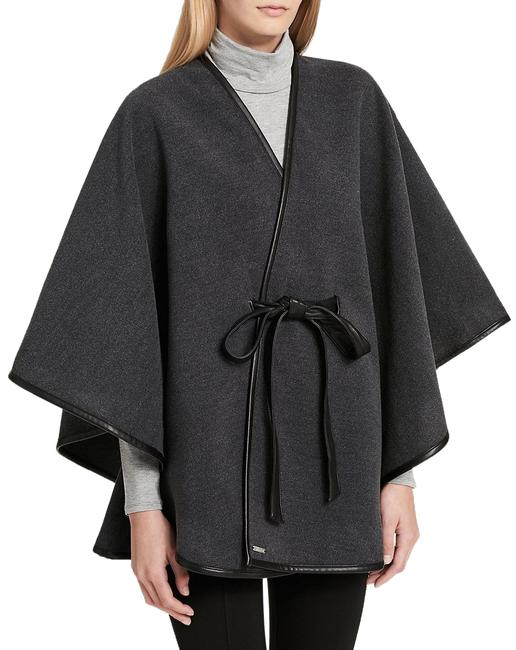 Item - Gray Charcoal Faux Leather Belted Poncho/Cape Size OS (one size)