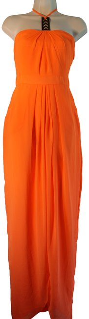 Item - Bright Orange Amy Long Night Out Dress Size 14 (L)