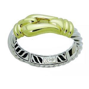 David Yurman David Yurman 18k Gold & 925 Sterling Silver Large Buckle Bangle Bracelet