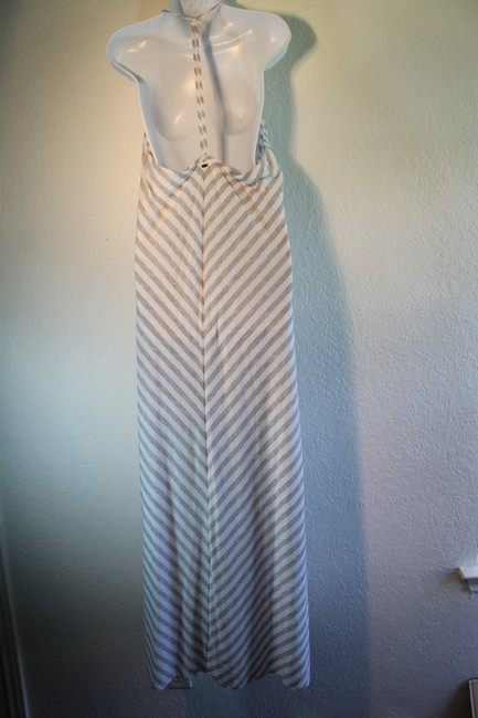 Grey striped Maxi Dress by O'Neill Strappy A-line Racer-back V-neck