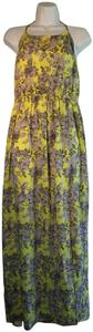 Yellow and Grey Floral Maxi Dress by entro Polyester Halter