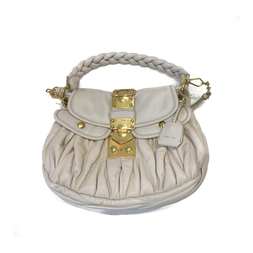364416ab1ce0 Miu Miu Matelasse Cream White Leather Shoulder Bag - Tradesy