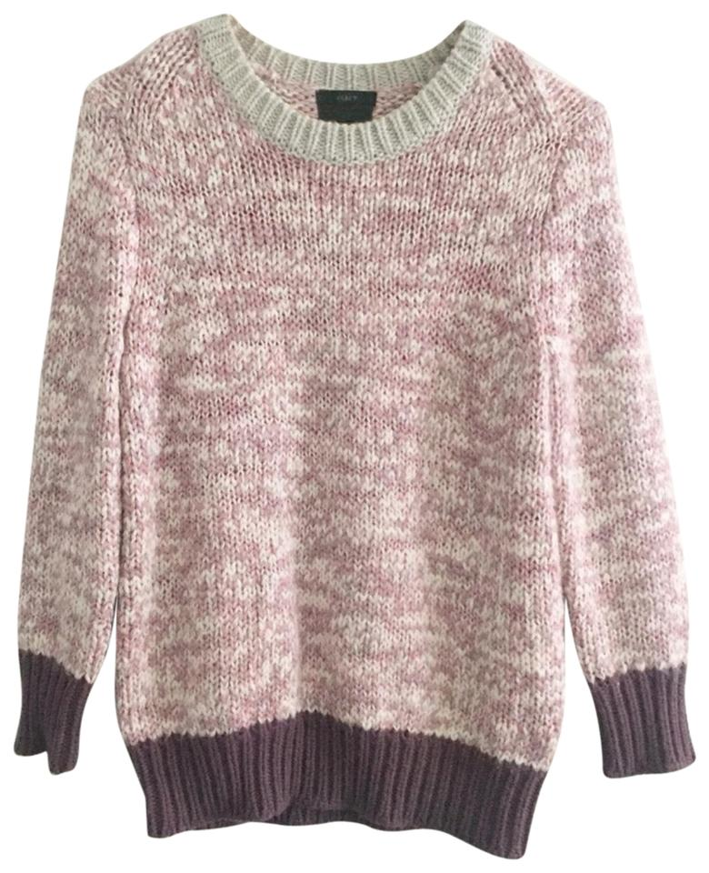 d8a96980b9727c J.Crew Purple White Gray Pink Sweater - Tradesy
