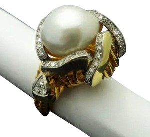 Mauboussin Estate Mauboussin 13mm Pearl 1.00ct Diamonds 18k Yellow Gold Ring Size 6.25
