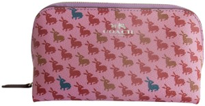 Coach Coach Cosmetic Pouch Bunny Rabbit Print Leather Pouch