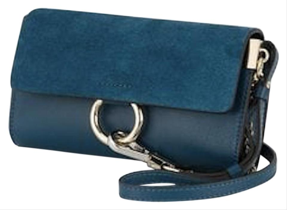 ae41bf10 Chloé Faye Mini Wallet On A Chain Blue Calfskin Leather/Suede Cross Body Bag