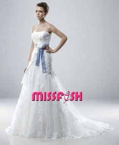 New Ivory/Blue Organza/Tulle Melissa Modern Wedding Dress Size 8 (M)
