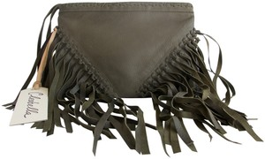 Cleobella Leather Fringe Dark Olive Green Clutch