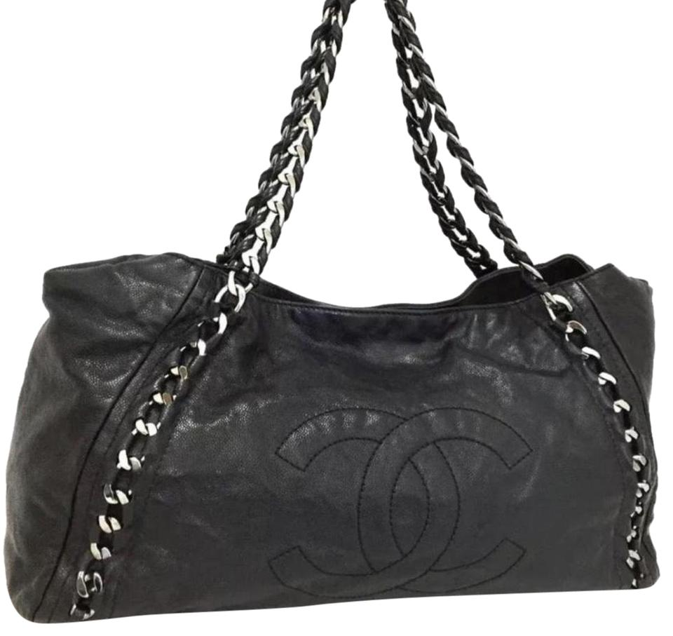 Chanel East West Large Glazed Caviar Black Leather Tote - Tradesy