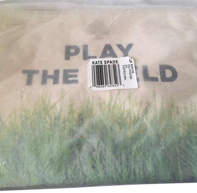 Item - Gia Play The Field Pouch Off- White with Black Lettering/ Green Grass Canvas Clutch
