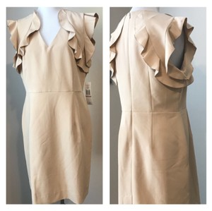 Sharagano Ruffle Taupe Knee Length Dress