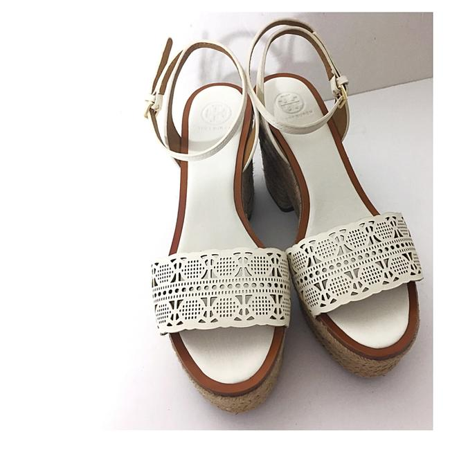 Item - White Tan Box New In Roselle Leather 100mm Platform Laser Cutout Espadrille Sandals Size US 9.5 Regular (M, B)