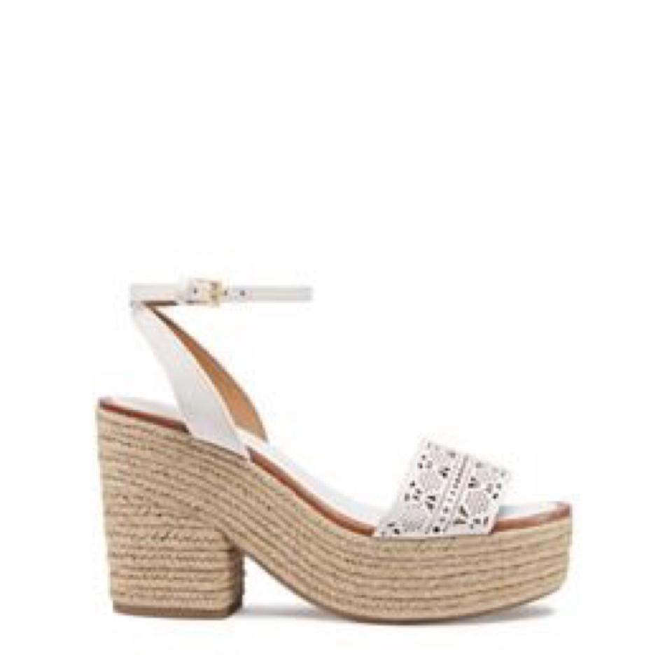 c2dd74f3c Tory Burch White Tan New In Box Roselle Leather 100mm Platform Laser Cutout Espadrille  Sandals Size US 9.5 Regular (M