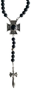 King Baby STERLING SILVER DAGGER THE CHOSEN FEW ONYX BEAD ROSARY NECKLACE