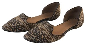 Restricted Pointed Toe Floral Print Woven Fabric Black Flats