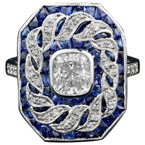 Fashion Jewelry For Everyone Blue White 14k Gold Plated Sapphire and Topaz Stone Women Party Size U Ring