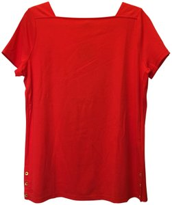 Lauren Ralph Lauren Square Neckline Sleeved Logo Buttons New With Tags T Shirt Red