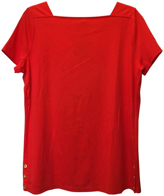 Lauren Ralph Lauren Square Neckline Sleeved Logo Buttons New With Tags T Shirt Red Image 0