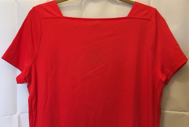 Lauren Ralph Lauren Square Neckline Sleeved Logo Buttons New With Tags T Shirt Red Image 1