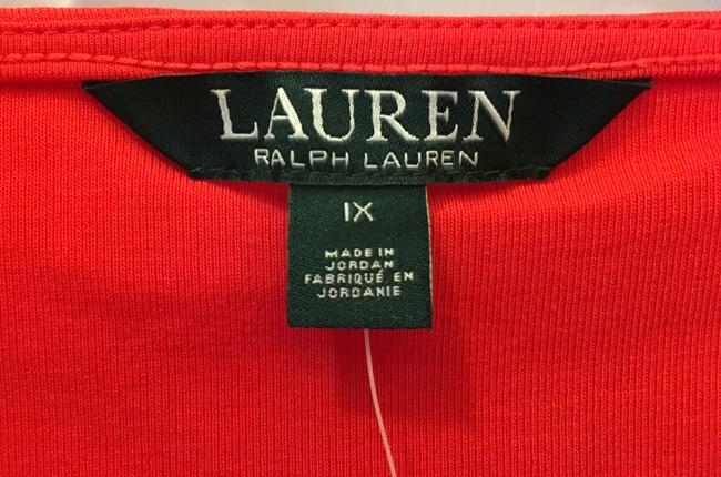 Lauren Ralph Lauren Square Neckline Sleeved Logo Buttons New With Tags T Shirt Red Image 2