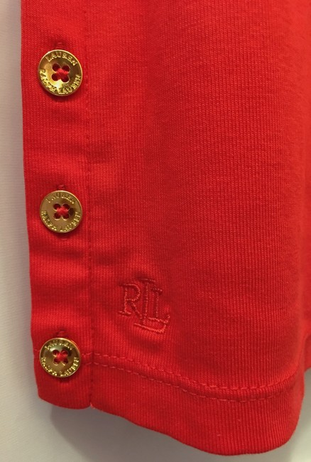 Lauren Ralph Lauren Square Neckline Sleeved Logo Buttons New With Tags T Shirt Red Image 5