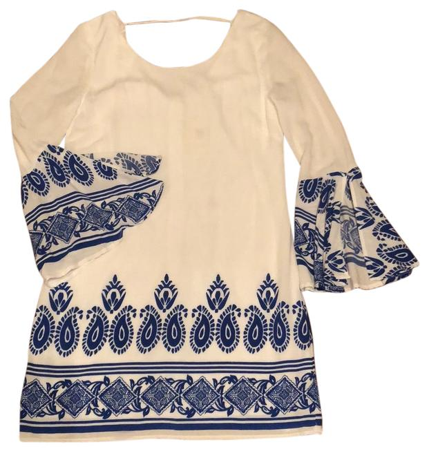 Item - White with Royal Blue Flared Sleeves Short Casual Dress Size 4 (S)