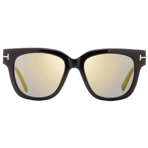 8a19224c36 Tom Ford Women s 100% UV Protection TF Tracy Shiny Black Plastic Gold  Mirror Lens Square