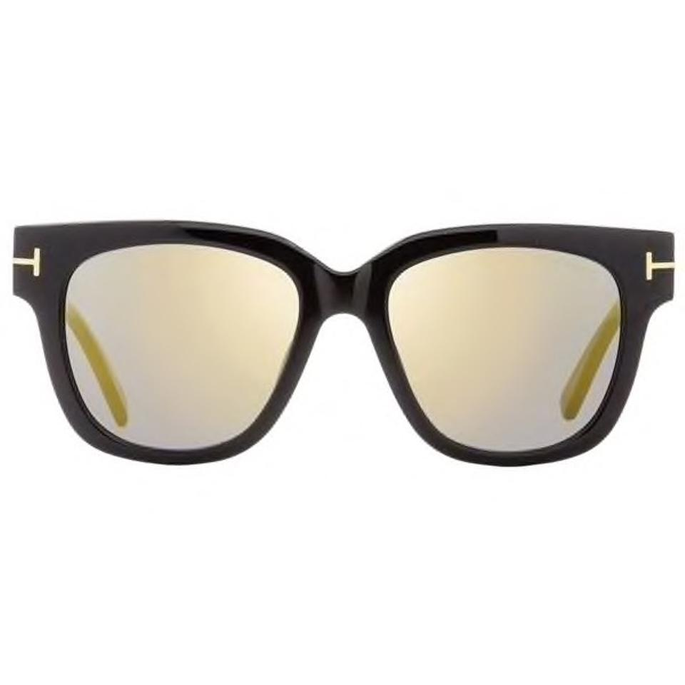 61fdeaf033 Tom Ford Women s 100% UV Protection TF Tracy Shiny Black Plastic Gold  Mirror Lens Square ...