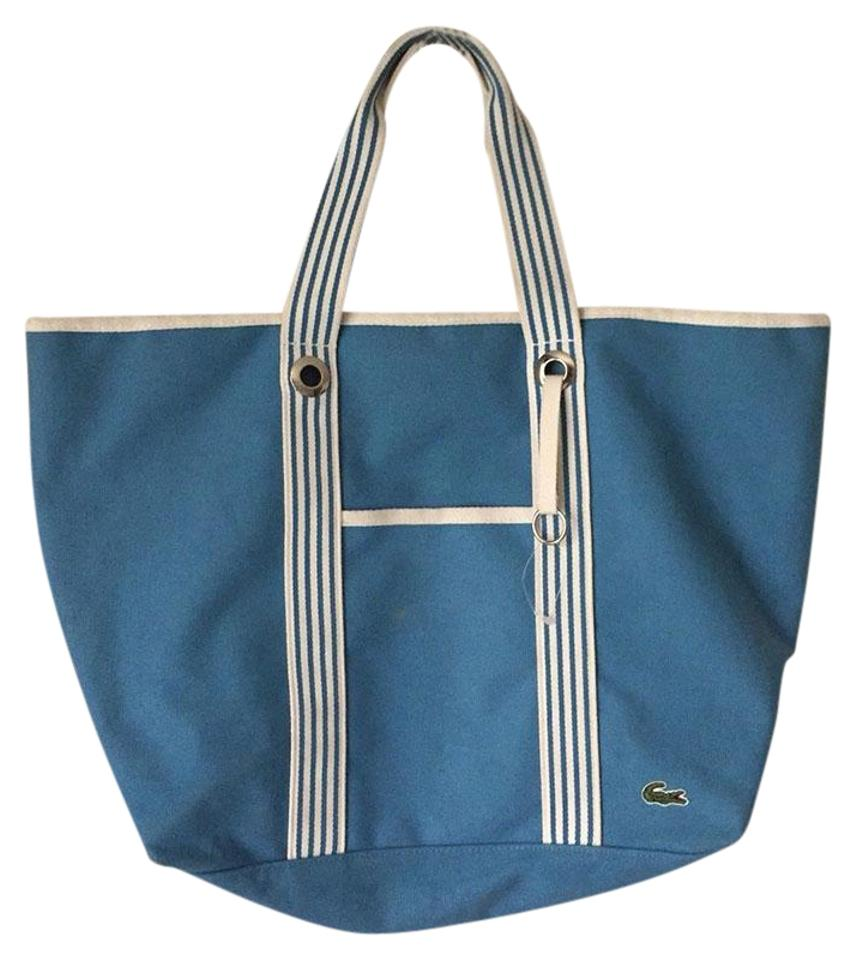 01102bac20dc Lacoste Large Fabric Blue Tote - Tradesy