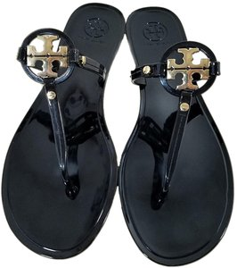 Tory Burch Gold Logo Flip Flops Jelly Thong Black Sandals