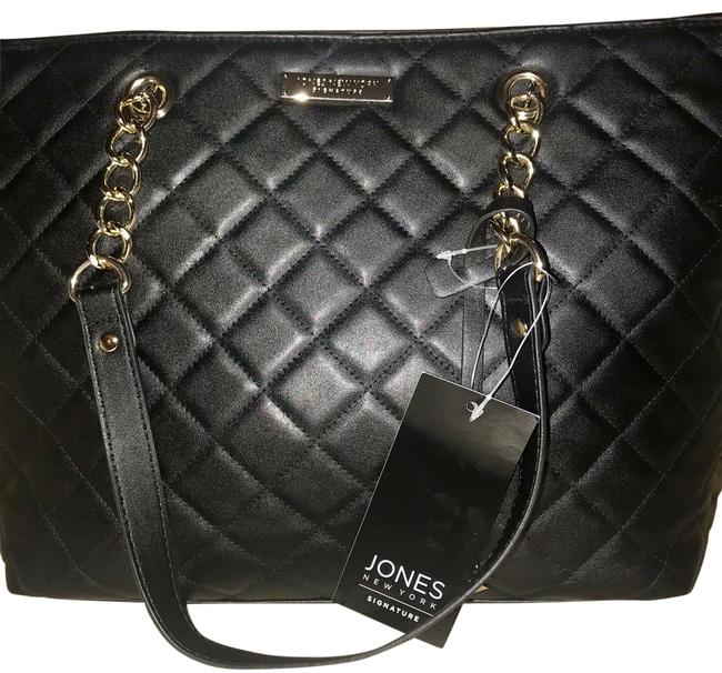 Item - Peyton Quilted Chain Black Faux Leather Tote
