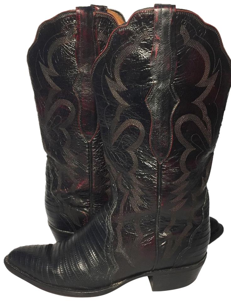 88923dafa8f Lucchese Burgundy Leather Lizard Western Cowgirl Women's Boots/Booties Size  US 7 Regular (M, B) 69% off retail