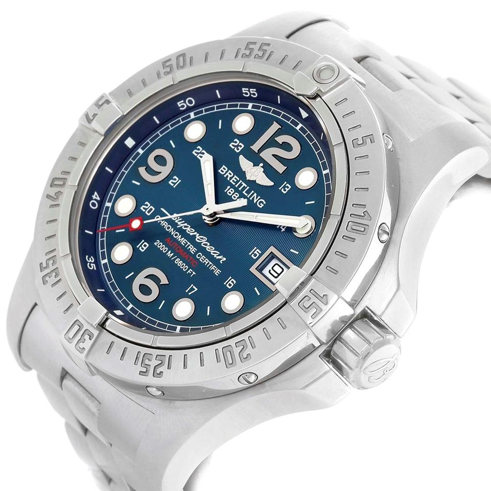 uk availability b12c2 3a944 Breitling Blue Box Superocean Steelfish Dial Mens A17390 Papers Watch