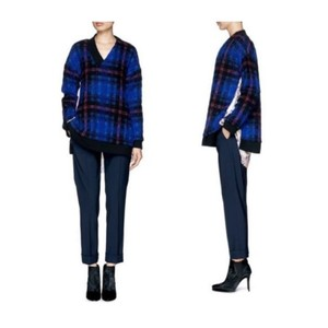 Thakoon Plaid Layered V-neck Wool Sweater