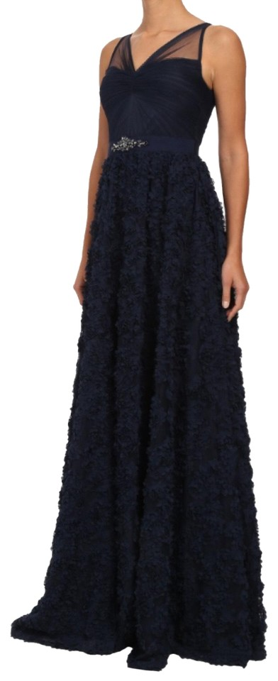 36e70e825a7f Adrianna Papell Navy Blue Embellished Tulle Petal Chiffon Ball Gown ...