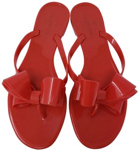 Valentino Jelly Bow Rockstud Lace Gold Hardware Red Sandals