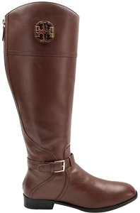 Tory Burch Burnished Leather Medallion Logo Riding Almond Boots