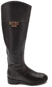 Tory Burch Burnished Leather Medallion Logo Riding Brown Boots