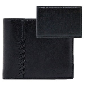Coach NEW COACH men classy baseball stitch leather wallet ID case holder