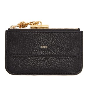 chlo drew black textured leather cardholder coin pouch - Chloe Card Holder