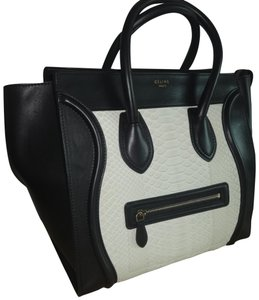 Céline Python/Leather Tote in White/Black