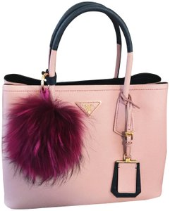 Prada Saffiano Cuir Double New Tote in Baby Pink and Dark Navy
